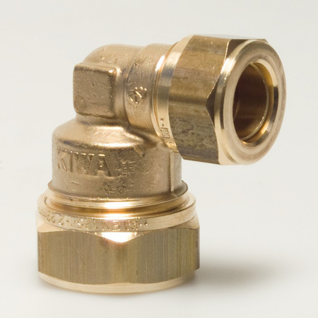 Picture of Verlopende knie kopp. KIWA messing, 12mm x 10mm