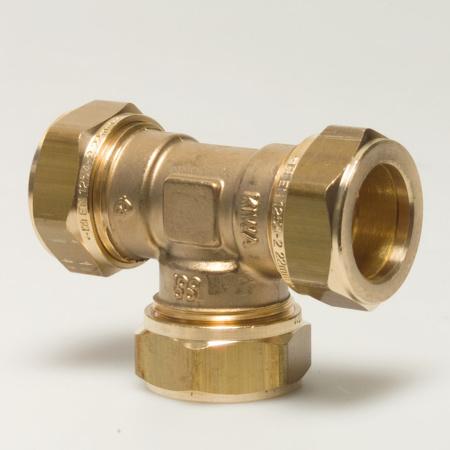 Picture of Messing T-stuk KIWA 3 x knel  10mm