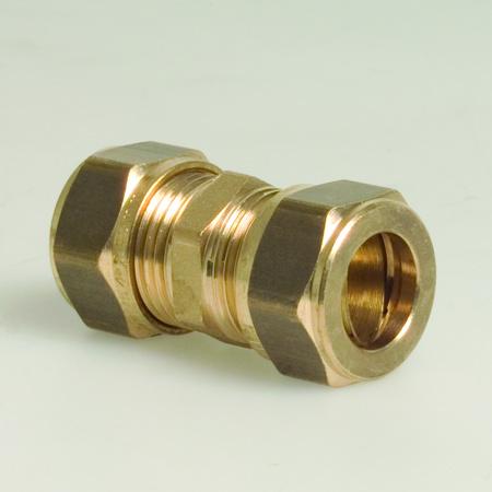 Afbeeldingen van Rechte koppeling KIWA messing, knel / knel 12 mm.