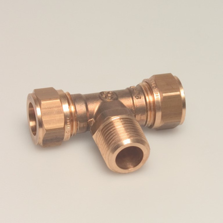 """Afbeeldingen van VSH T-koppeling knel x bu.dr. x knel 22 mm x 1/2"""" x 22 mm"""