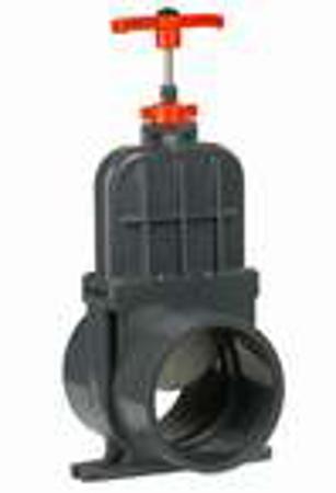 Afbeeldingen van PVC schuifafsl. met RVS schuif, 2 x lijm 110 mm, 0,5 bar