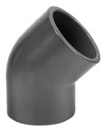 Afbeeldingen van PVC knie 45°, 250 mm, 16 bar, KIWA