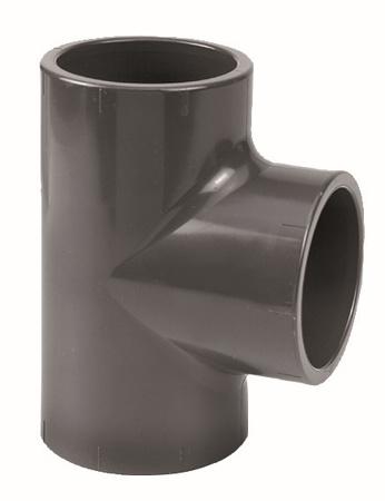 Afbeeldingen van PVC T-stuk 90°, 125 mm, 16 bar, KIWA