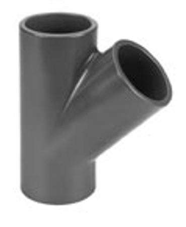 Afbeeldingen van PVC T-stuk 45°,75 mm, 10 bar, KIWA