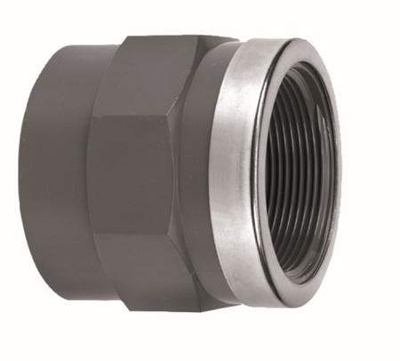 """Afbeeldingen van PVC draadsok inw. lijm x bi.draad, 75 x 1½"""", PN10 + RING"""