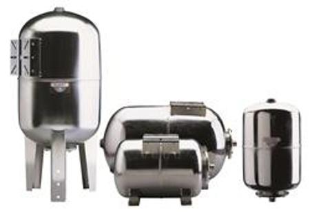 Afbeeldingen van Drukvat RVS 24 liter, horizontaal met pompplateau.