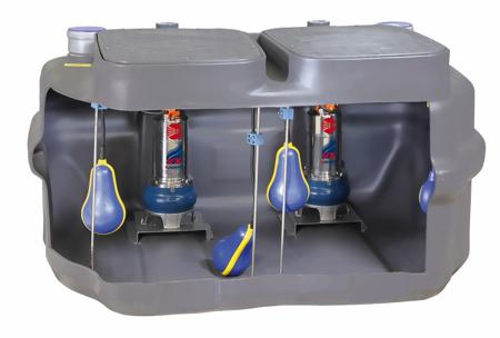 Afbeeldingen van Prefab pompput 550-VXm 10/35-I met 2 dompelpompen